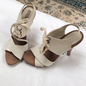 Stella McCartney wood and canvas heels